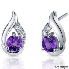 Oravo Sterling Silver Round Gemstone Stud Earrings