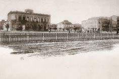 El actual Paseo de Canalejas, con la escuela de Comercio. 1892