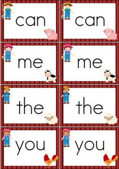 Sight Words - Memory Game (Pre-Primer Words) {FREE}. Cute Farm theme.