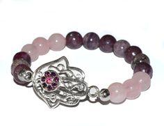Charoite, Lepidolite, Rose Quartz, Silver Plated Hamsa Hand Bracelet...Stretch Gemstone Bracelet