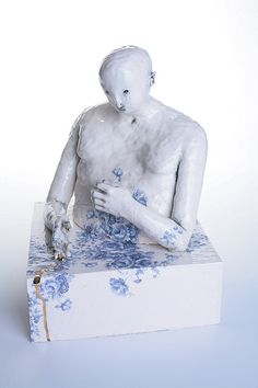 Falling slowly - Claire Curneen 2003, hand built porcelain; transparent glaze, flower decals