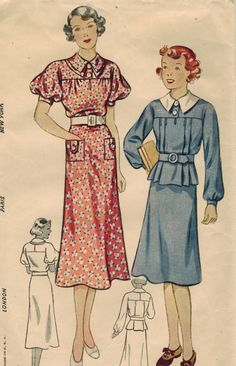 1930s Simplicity 2134 Vintage Sewing Pattern Girl's One-Piece Dress and Two-Piece Dress Size 10