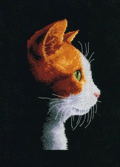 This cross stitch kit from Vervaco takes the always popular subject of cats, and adds new depth to the beloved animal with great use of shadow and sid...