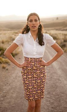 Explore the far reaches of the world (or maybe just your home town) in the chic, retro-inspired Andes Skirt.  In designer cotton poplin by Tina Givens, this classic pencil silhouette takes it up a notch from office staple to gal-about-town chic.  With perfect tailoring from the natural waist to the knee, the Andes Skirt can conquer the conundrum of office-to-outing dressing any day of the week.