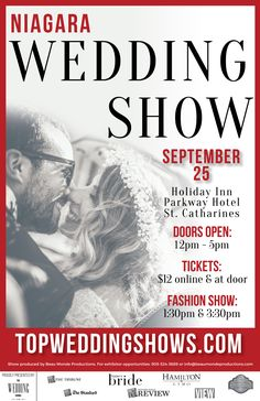 """The Niagara Autumn Wedding Show is quickly approaching on September 25 at the Holiday Inn Parkway Hotel in St. Catharines. Grab your tickets now and you will get $2 off your ticket price with coupon code """"FBH16"""". Save 50% off admission when you come to the show between 2pm-5pm with coupon code """"FBH50"""". http://bit.ly/2bGi6X6"""