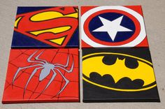 Set of 4 Superhero 12x12 Hand Painted Canvas  Superman by MPsArts, $70.00