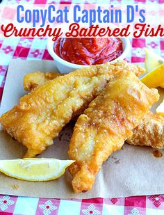 CopyCat Captain D's Crunchy Battered Fish, Crispy battered flaky white fish that is moist inside, make this guilty pleasure in your own kitchen! For a fish fry in the new house! Fish Dishes, Seafood Dishes, Fish And Seafood, Seafood Recipes, Cooking Recipes, Cooking Icon, Cooking Pasta, Cooking Fish, Fire Cooking