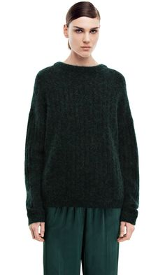 Dramatic moh dk forest green sweater #AcneStudios #PreFall2014