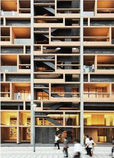 Mokuzai Kaikan, Tokyo, by Nikken Sekkei , Headquarters for the Wood Wholesalers Union in Tokyo #architecture #design