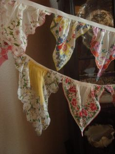 vintage handkerchief pennant bunting - to do with G-ma's old handkerchiefs!