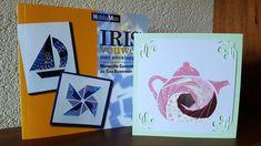 Irisvouwkaart. Strookjes papier opplakken van buiten naar binnen, zodat het zich als een iris sluit om het middelpunt.