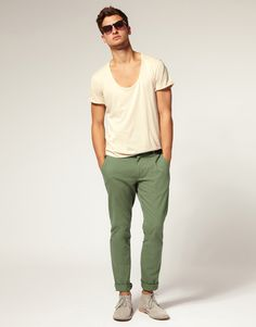 cuffed chinos + low vneck (green and oatmeal)