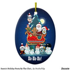 Santa's Holiday Party By The Christmas Tree Ceramic Ornament