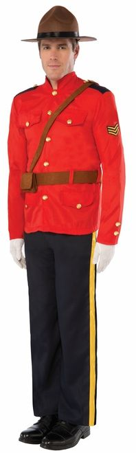 Canadian RCMP Mountie Costume - Don the traditional Red Serge and become a member of the Royal Canadian Mounted Police for a night. Kick the Canada Day party up a notch eh!   This Mountie costume is a red Serge Jacket with brass-looking buttons and pocket details on the front. A Sergeant ranking stripes are sewn onto the left arm sleeve. There's a brown felt belt with a shoulder strap and a pouch with Velcro closure. #mountie #rcmp #yyc #costume #uniform
