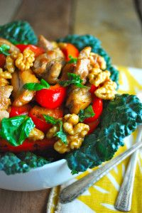 Chicken Basil Stir Fry with Walnuts and Kale