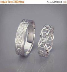 SALE in July 14K White Gold Celtic Knot Wedding Rings Set