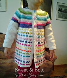 This Pin was discovered by Kvě Learn To Crochet, Crochet For Kids, Crochet Baby, Free Crochet, Free Girl, Crochet Jacket, Crochet Granny, Crochet Projects, Kids Outfits