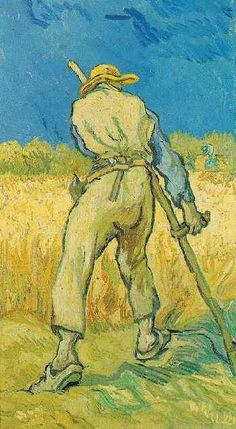 Vincent van Gogh: The Paintings (The Reaper--after Millet). oil on canvas. 43.5 x 25 cm. Saint-Remy, 1889.