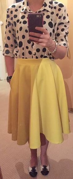 The Girl With Nothing to Wear: Polka dot blouse, yellow skirt, work style, spring style