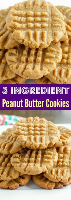 3 Ingredient Classic Peanut Butter Cookies -These are the. 3 Ingredient Classic Peanut Butter Cookies -These are the Gluten Free Peanut Butter Cookies, Peanut Butter Desserts, Köstliche Desserts, Delicious Desserts, Dessert Recipes, Peanut Better Cookies, Peanut Butter Cookie Recipe 3 Ingredient, Snack Recipes, Keks Dessert