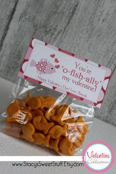 Printable Valentine Bag Topper - Fish. $5.00. www.StacysSweetStuff.Etsy.com