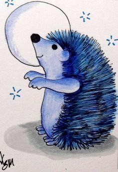 "Aceo Original  ""BLUE HEDGEHOG""  pencil/ink #OutsiderArt"