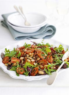 Cannellini bean salad with roast cherry tomatoes and chorizo - This quick and easy salad is packed with flavour and ready in just 30 minutes. It's perfect for lunch or a lighter evening meal.