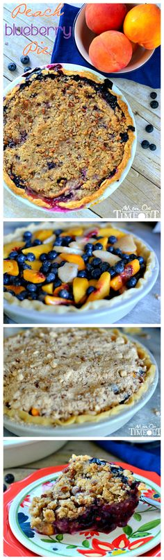 Peach Blueberry Pie with Pecan Streusel Topping from MomOnTimeout.com. Perfect recipe for these summertime fruits!