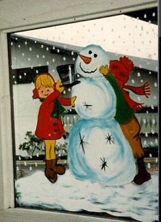 Snowman window painted by Laurie Hansen