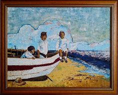 Veen -Three young sailors Oil on canvas 54x70 by Veen