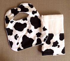 Baby Bib and Burp Cloth Set - Black and White Cow Print on Etsy, $15.00
