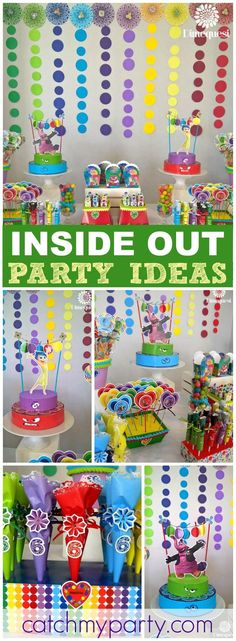 What a colorful and fun Inside Out birthday party! See more party ideas at CatchMyParty.com!