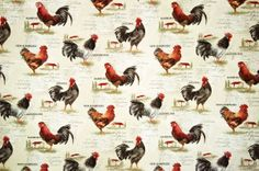 Rooster fabric retro European country chickens document print
