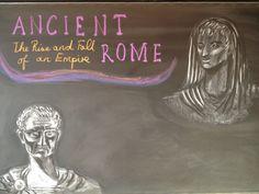 Age 12 ~ Roman History ~ Julius Caesar and Caesar Augustus ~ chalkboard drawing