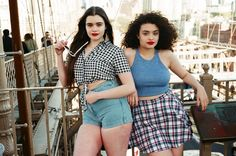 Barbara and Diana wear the New V Strap Tank, New Plaid Circle Skirt, New Tie Up Blouse and High Waist Jean Cuff Shorts.