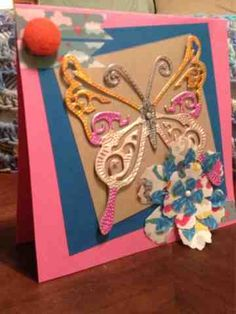Card created by Pinquette Marji using Pinque Peacock Layered Garden Beauties and Fabric Covered Button