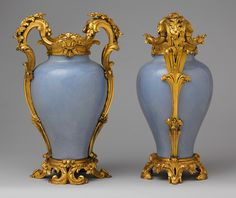 ❤ - Pair of mounted vases, ca. 1750.  These sky-blue vases of the Chinese Imperial Qianlong period were embellished in Paris according to the European Rococo aesthetic.
