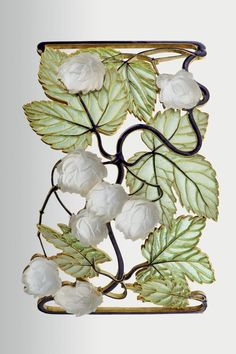 René Lalique | Necklace - Hop tendril 1898 - 1900. Place of production: Paris. Materials: gold; corroded glass. Techniques: plique-a-jour enamel; cast; émail cloisonné.  | Museum of Applied Arts, Budapest, ˆ 2015ˆˆ
