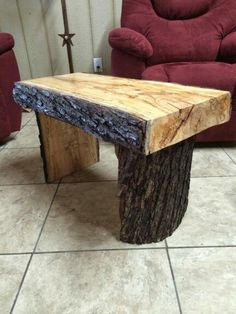 Live edge maple bench. Made with my trusty chainsaw mill. Pic 1 of 2