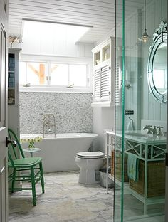 Designer Sarah Richardson incorporated colors from nature in this master bathroom to create a charming cottage look. I love Sarah Richardson ' s designs. Cottage Style Decor, House Bathroom, Coastal Bathrooms, Cottage Inspiration, Sarah Richardson Bathroom, Sarah Richardson Design, Cottage Bathroom, Luxury Bathroom, Bathroom Design