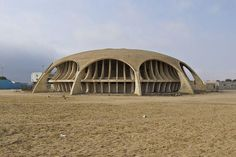 This retro-futuristic Portuguese theatre has been abandoned since Portuguese colonial decline in Namibe, Angola, after 1974.
