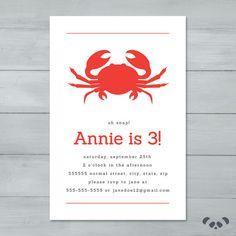 Crab Birthday Party Invitation    Crab by PandafunkCreations