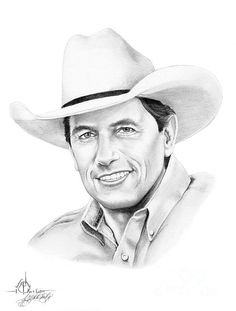 George Straight by Murphy Elliott ~ traditional pencil art Male Country Singers, Country Musicians, Country Artists, Cool Pencil Drawings, Pencil Art, Vincent Van Gogh, George Strait Family, Graphite Art, Celebrity Drawings