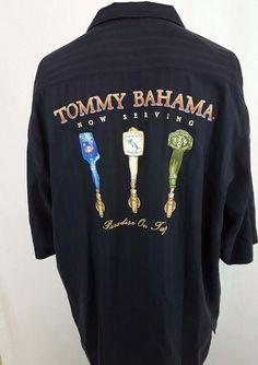 Tommy Bahama Embroidery Beer Hawaiian Now Serving Paradise on Tap Silk Shirt  XL #TommyBahama #Hawaiian
