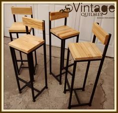 Mobilier Circa Who Code: 6379631274 Welded Furniture, Loft Furniture, Steel Furniture, Pallet Furniture, Industrial Furniture, Furniture Design, Industrial Style, Wood Bar Stools, Bar Chairs