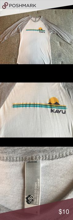 Kavu Baseball Style Shirt Like new-worn once. Kavu baseball style (quarter sleeve) t-shirt. Very soft and thin and great for a day of hiking or etc.! Kavu Tops Tees - Long Sleeve