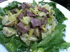 Beef tongue salad with Yukon Gold potatoes and mustard dressing