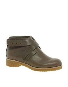 See by Chloe - Strapped Gray Flat Ankle Boots