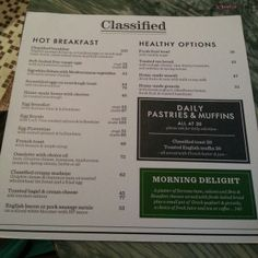 Central, Classified - Breakfast Menu