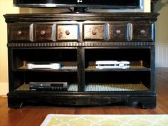 I am so going to do this!!! I have an old dresser...I want to turn it into an entertainment center...